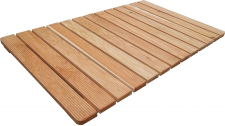Shower footboard larch wood screw assembled 105x63 cm